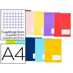 Libreta Liderpapel Smart DIN A4 Tapa blanda 80 hojas Cuadricula 5 mm 60 g/m2 Con margen Colores surtidos