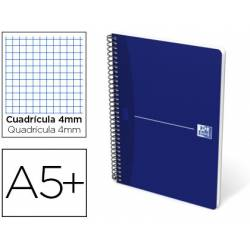 Cuaderno espiral Oxford Essentials DIN A5+ Cuadricula 4mm 80 hojas Tapa blanda en color azul