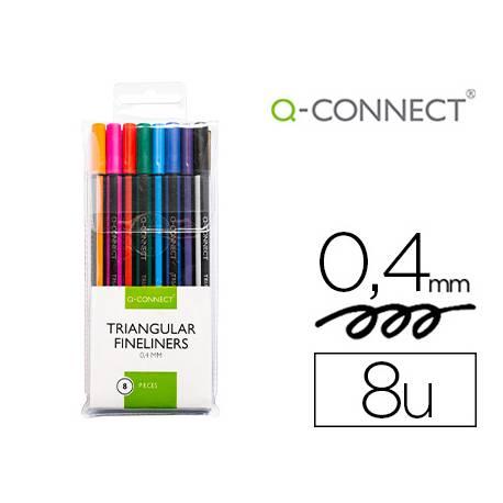 Rotulador Q-Connect Punta de fibra fine 0,4 mm colores surtidos Pack 8 unidades