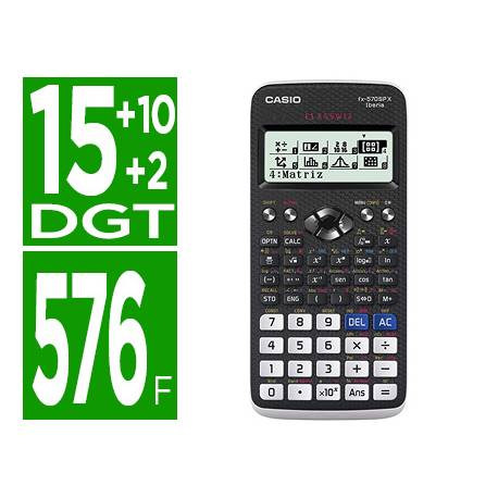 Calculadora Cientifica Casio FX-570SPX II Classwiz con +15 +2 digitos