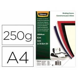 Tapa de Encuadernacion Carton Brillo Fellowes DIN A4 Color Negro 250 micras pack 100 uds