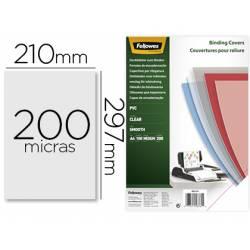 Tapa de Encuadernacion PVC Fellowes DIN A4 Color Transparente Cristal 200 micras pack 100 uds