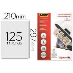 Bolsa de plastificar Fellowes Din A4 125 micras con brillo 25 unidades