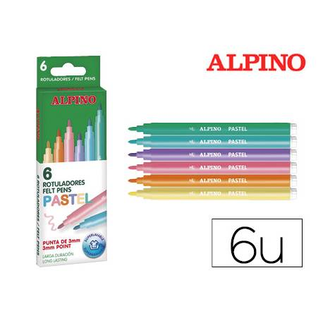 Rotulador Alpino Standard colores Pastel Punta Fina Lavable Caja 6 rotuladores