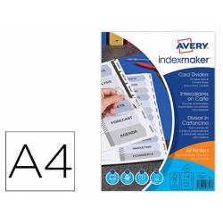 Separadores Avery DIN A4 Imprimibles 12 Pestañas de Papel Blanco