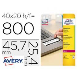 Etiqueta adhesiva Avery 47,7x25x4 mm Blanca láser caja 800 unidades