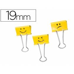 Pinza Metalica Emojis marca Rapesco Amarillo Reversible 19 mm