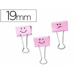 Pinza Metalica Emojis marca Rapesco Rosa Reversible 19 mm