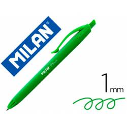 Bolígrafo retráctil milán P1 de color verde 1 mm