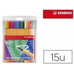 Rotulador Stabilo Point 88 Estuche 15 unidades colores surtidos