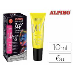 Maquillaje Fluorescente Alpino UV Caja 6 unidades Color Amarillo Tubos 10 ml