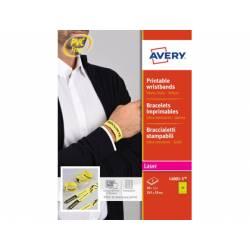 Pulsera identificativa Avery Polietileno 265x15 mm color amarillo fluorescente. Pack 50 unidades