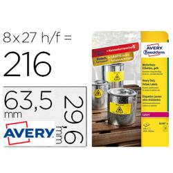 Etiqueta Adhesiva Avery 63,5x29,6 mm Poliester Color Amarillo Caja de 8 hojas