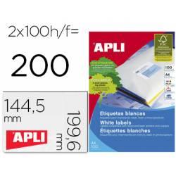 Etiqueta adhesiva Apli 2423 Fotocopiadora Laser Ink-jet DIN A4 Caja de 100 hojas