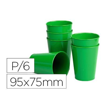 Vaso ABS verde 95x75 mm con borde grueso redondeado