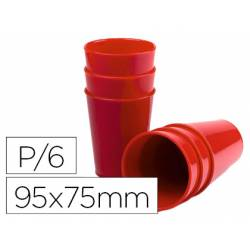 Vaso ABS rojo 95x75 mm con borde grueso redondeado