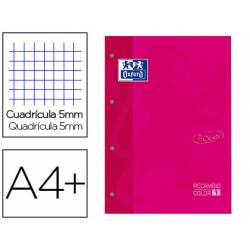 Recambio Oxford Din A4+ cuadricula 5mm color fucsia
