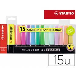 Rotulador Stabilo Boss 70 Fluorescente de Colores Surtidos Blister de 15 unidades
