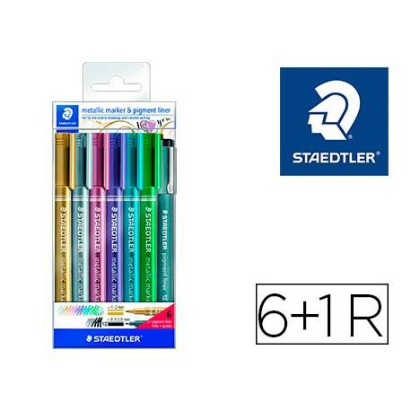 Rotulador Marcador Staedtler Metálico 8323 de Colores Surtidos Blister 6 unidades+Rotulador Calibrado 308 C2-9