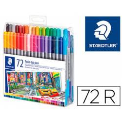 Rotulador Staedtler 3200 Doble Punta Fibra de Colores Surtidos Estuche de 72 unidades