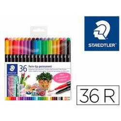 Rotulador Permanente Staedtler 3187 Doble Punta de Colores Surtidos Estuche de 36 unidades