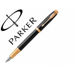 Pluma Parker PK IM GT Premium Plumin Fino Lacado Color Negro Adornos Dorados