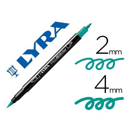 Rotulador Lyra aqua brush acuarelable doble punta fina y pincel verde noche