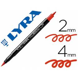 Rotulador Lyra aqua brush acuarelable doble punta fina y pincel rojo geranio