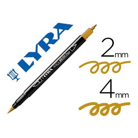 Rotulador Lyra aqua brush acuarelable doble punta fina y pincel ocre dorado