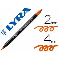 Rotulador Lyra aqua brush acuarelable doble punta fina y pincel naranja oscuro