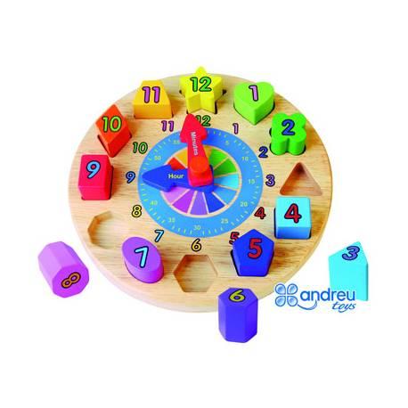 Puzzle Reloj Infantil 12 piezas a partir de 2 años Andreutoys