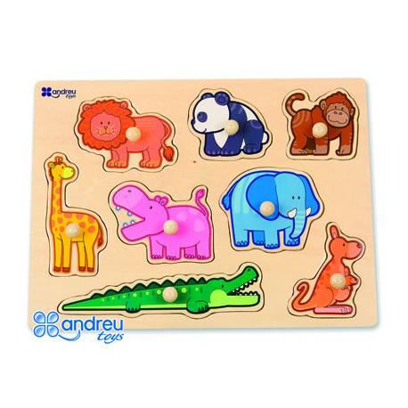 Puzzle Animales de la selva 8 piezas a partir de 18 meses Andreutoys