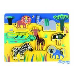 Puzzle Animales de la jungla 7 piezas a partir de 18 meses Andreutoys