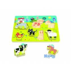 Puzzle Animales de la granja 7 piezas a partir de 18 meses Andreutoys