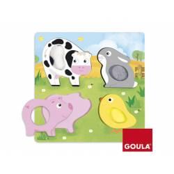 Puzzle Animales de Tela Granja Táctil a partir de 1 año de 4 piezas Goula
