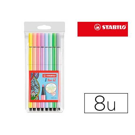 Rotulador Stabilo Acuarelable Pen 68 Estuche de 8 Colores Pastel