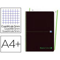 Cuaderno Oxford Ebook 1 DIN A4+ Negro y Verde 80 hojas Tapa Plastico Cuadricula 5 mm