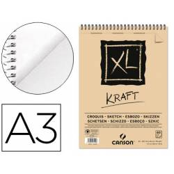 Bloc Dibujo Kraft Canson XL DIN A3 Verdujado Microperforado Espiral Rayado