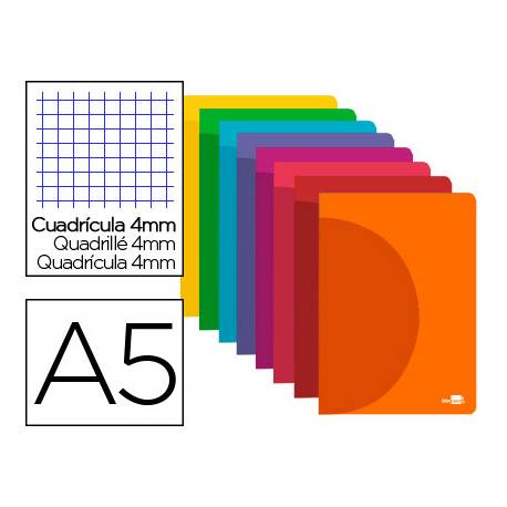 Libreta Liderpapel Serie 360 A5 cuadricula 4mm 48 hojas tapa plastico colores surtidos