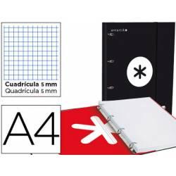 Carpeta con recambio Antartik A4 4 anillas 40 mm de Cartón forrado color Negro con solapa