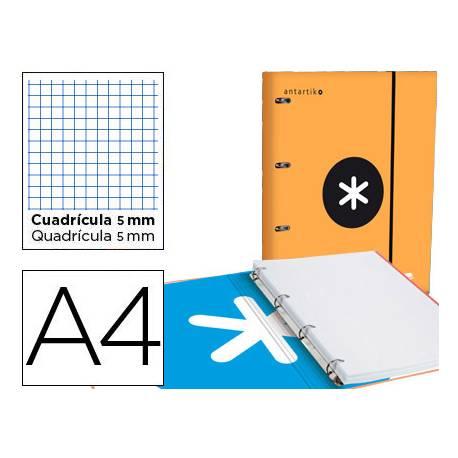 Carpeta con recambio Antartik A4 4 anillas 40 mm de Carton forrado color Naranja con solapa
