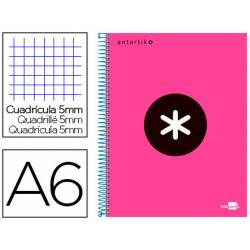 Bloc Antartik A6 cuadricula 5mm tapa Forrada 100 hojas 100g/m2 rosa 4 bandas color