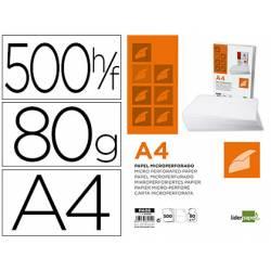 Papel DIN A4 Microperforado Liderpapel 80gr 500 hojas