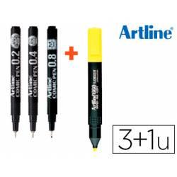 Rotulador Artline Calibrado Comic Pen Trazos Surtidos color Negro + Fluorescente EK-660