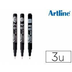 Rotulador Artline Comic Calibrado Micrometrico Color Negro Bolsa de 3 Unidades 0,2 0,4 0,8mm