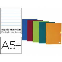 Libreta Escolar Liderpapel Scriptus Grapada Din A5+ Rayado Montessori 5 mm de Colores Surtidos