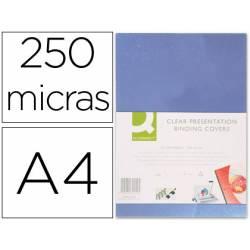Tapa de Encuadernacion PVC Q connect Din A4 Incolora 250MC pack 100 uds