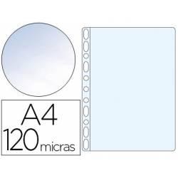 Funda Multitaladro Q-Connect Tamaño Folio 120 MC Cristal 100 uds