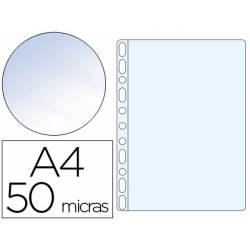 Funda Multitaladro Q-Connect Din A4 50 MC Cristal Bolsa de 100 unidades