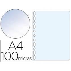 Funda Multitaladro Q-Connect DIN A4 100 MC Cristal Bolsa 100 unidades